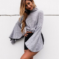 Fashion New Style Pagoda Sleeve Irregular Turtleneck Knitwear