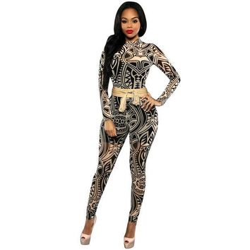 CREYWQA Sexy Club Elegant Overalls 2017 New Long Sleeve Mesh Black tribal Printed Plus Size Women Bodycon Jumpsuits And Rompers
