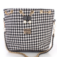 Black White Houndstooth Print Gold High Polish Accent Cute Handbag