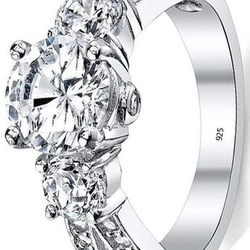 "1.50 Carat Round Cubic Zirconia "" Past, Present, Future"" Sterling Silver 925 Wedding Engagement Ring"