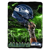 NFL Seattle Seahawks 60-Inch-by-80-Inch Plush Rachel Blanket, Sky Helmet Design