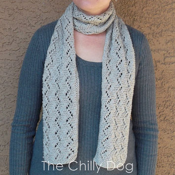 Satiny Vine Lace Scarf - Knit Pattern PDF