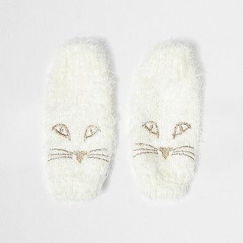 Cream fluffy knit cat face handwarmers - gloves - accessories - women