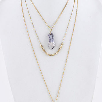 Layered Crystal Gem Necklace