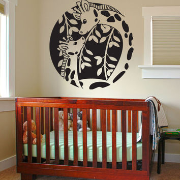 Vinyl Wall Decal Sticker Giraffe Circle #OS_DC727