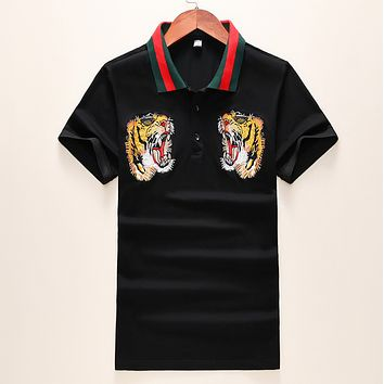 GUCCI Fashion New Embroidery Tiger Women Men Sports Leisure Top T-Shirt Black