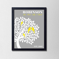 """Personalized Custom Family Tree Print. Birds in a Tree. Gray and White. Wedding Gift. Anniversary Gift. Family Art. 8.5x11"""" Print."""