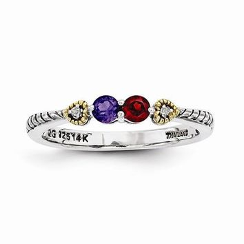 Sterling Silver & 14k Two-Stone And Diamond Mother's Ring