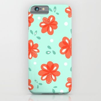 Cheerful Red Flowers Pattern iPhone & iPod Case by Boriana Giormova