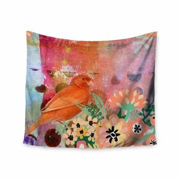 """AlyZen Moonshadow """"2 Red Birds With Flowers"""" Red Coral Digital Wall Tapestry"""