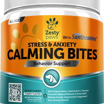 Zesty Paws Stress & Anxiety Calming Bites with Suntheanine & Hemp Peanut Butter Flavor Soft Chews Dog Supplement