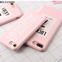 For iPhone 7 Lucky Case Pink Color Soft TPU Rubber Cover For iPhone X 8 6 6S Plus 7 Plus Case Silicone For iPhone 6S Cover Cases