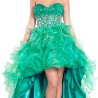 Organza Gem Hi-Low Ruffle Prom Dress Homecoming Gown, Large, Jade