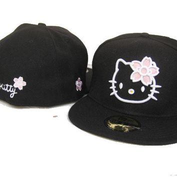 qiyif Hello Kitty New Era 59FIFTY Hat Black-Pink