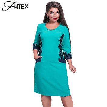 Plus Size 6XL Women Clothing New O Neck Lace Patchwork Color Block Big Size Shift Dress Autumn Winter Casual Bodycon Dress
