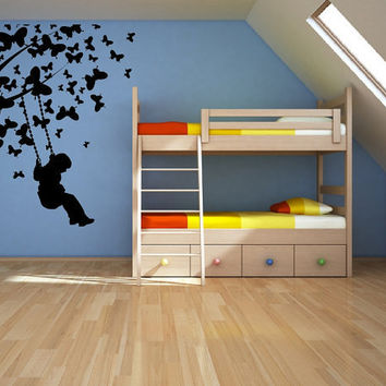 Butterfly Tree with Child Swinging Vinyl by CuttinUpCustomDieCut