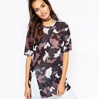 ASOS Longline Top In Camo Print