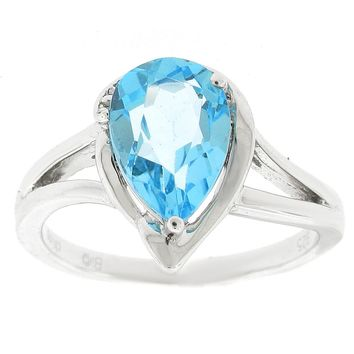 10x7 Pear Shaped Blue Topaz .02 cttw Diamond Sterling Silver Ring