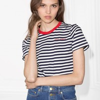 & Other Stories Contrast Neck Striped Tee