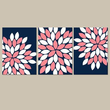 Navy Coral Wall Art,Navy Coral Nursery,Flower Nursery Art,CANVAS or Prints,Bedroom Wall Decor,Navy Coral Bathroom,Flower Petals,Set of 3