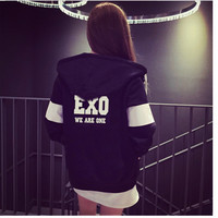 Women's Sport Sweatshirts 2016 New Autumn Winter Women's Casual Fleece Inside Zipper EXO Kawaii Fans Thickening Hooded Hoodies