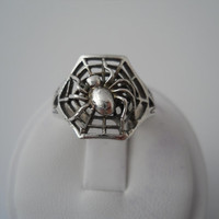 Sterling Silver 925 Spider In Web Ring Filigree Size 6.5 MC Marsala 925