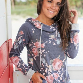 Navy and Gray Floral Hoodie