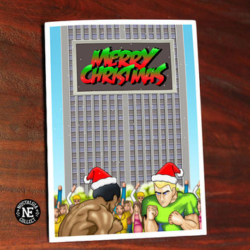 Street Fighter 2 Christmas Theme Card - Retro Video -  5 X 7 Inch