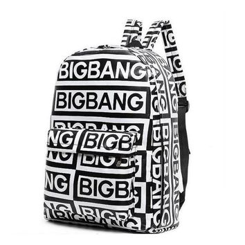 2016 korean style fashion kpop black canvas bigbang fans bagpack G-dragon punk rock backpack school bag for teenager girls W648