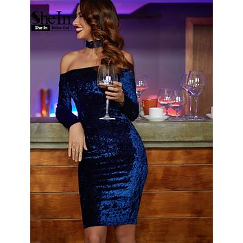 SheIn Woman Party Dresses Elegant Off the Shoulder Women Dress Autumn Knee Length Navy Choker Neck Velvet Pencil Dress
