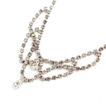 Vintage Clear Rhinestone Necklace - Silver Tone 1950s Costume Jewelry / Faux Diamond Necklace