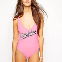 Barbie Swimsuit Women Sexy Love  Bodysuit One-Piece Swimwear Bathing Suit Swim Suits Jumpsuit