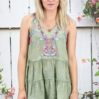 Layered Ruffles + Neon Embroidery V-neck Tank {Sage}