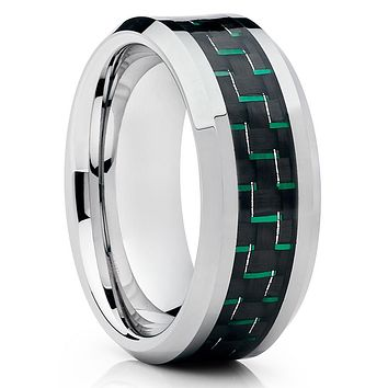 Green Tungsten Ring - Carbon Fiber Tungsten Ring - Tungsten Wedding Band