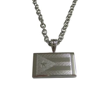 Silver Toned Etched Puerto Rico Flag Pendant Necklace