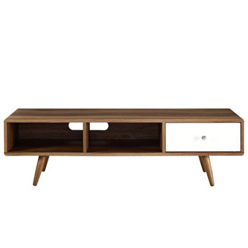 "Transmit Mid-Century Style 55"" TV Stand Walnut / White Lacquer"