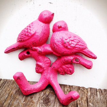Hand Painted Love Birds Branch Wall Hook - Vintage Inspired Shabby Cottage Chic - Hot Pink