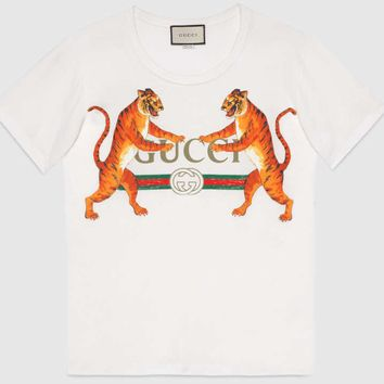 Gucci Women Fashion Casual Two Tiger Short Sleeve Round Neck Print T-shirt Tops White G-GQHY-DLSX
