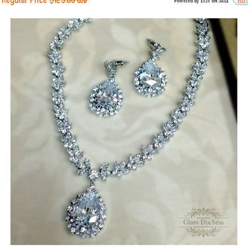 Bridal jewelry, Wedding  jewelry set, Bridal Necklace earrings , Cubic Zirconia crystal necklace, crystal jewelry set, Formal jewelry set