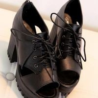Harajuku Punk Lace-up Fish mouth Heel Platform Shoes - 35 36 37 38 39 from Tobi's Finds