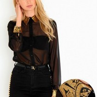 Missguided - Mailis Brocade Collar Blouse