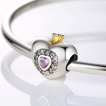 Silver Charm Beads Fit Original Pandora Bracelet Pendants DIY Jewelry Princess Heart With Pink CZ