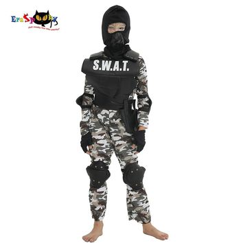 Eraspooky Carnival Party Fancy Dress Child SWAT Team Halloween Costume For Kids Camouflage Arm Jumpsuit Outdoor Game Cosplay