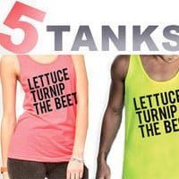 NEON lettuce turnip the beet - unisex sizes - choose your 5 colors and sizes - discounted set