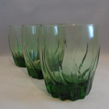 Anchor Hocking Starfire Green Swirl Glasses  S/3