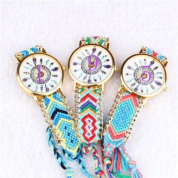 Women Quartz Watches Relogio Feminino Wrist Watches Famouus Brand Handmade Braided Twelve Feather Friendship Watch Rope Watch