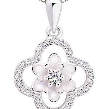 Jewelry Sterling Silver Four Leaf Clover Cubic Zirconia Pendant Necklace