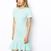 ASOS Pencil Dress with Peplum Hem in Scuba