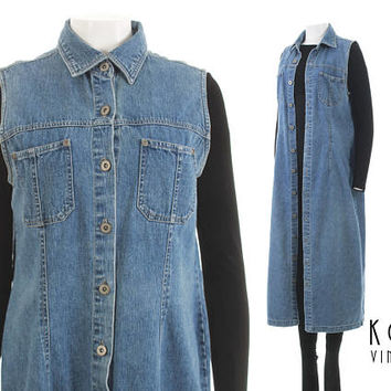 "Denim Duster Vest Medium Denim Maxi Dress 90s Grunge Clothing Jean Jumper Dress 90s Clothing Vintage Clothing Women's Size M - 40"" Bust"