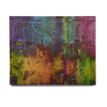 "Nina May ""Rainbow Saltwater"" Multicolor Painting Birchwood Wall Art"